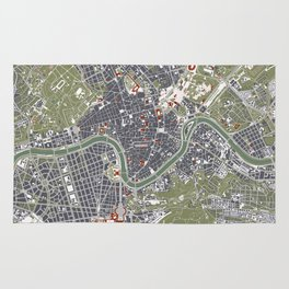 Rome city map engraving Rug