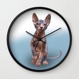Drawing Sphynx kitten Wall Clock