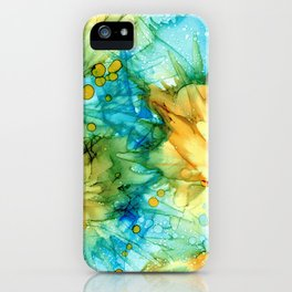 Turquoise and Yellow Abstract: Original Alcohol Ink Painting iPhone Case