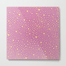 Little yellow love hearts on sugar pink pattern Metal Print