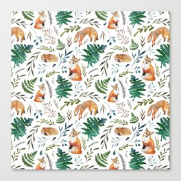 Foxes and Ferns Pattern Canvas Print