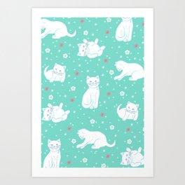 Snow Kitties Art Print