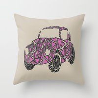 beetle Throw Pillows featuring Beetle  by Victoria-Anne