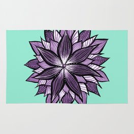 Purple Mandala Like Abstract Flower Rug