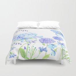 Watercolor Blue Garden Illustration Duvet Cover