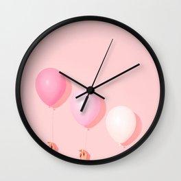 Three balloons in blush Wall Clock