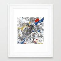 kansas city Framed Art Prints featuring Kansas city mondrian map by Mondrian Maps
