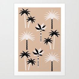 Palm Trees - Neutral Black & White Art Print
