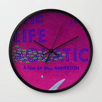 the life aquatic Wall Clocks featuring The Life Aquatic by Wharton