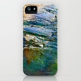 Colored sea waves licking the rock iPhone Case