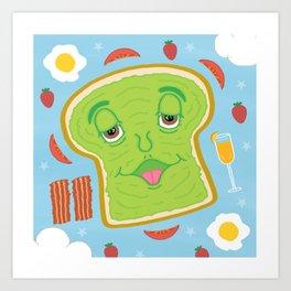 Cute Avocado Toast & Mimosa Brunch Celebration Cartoon Art Print