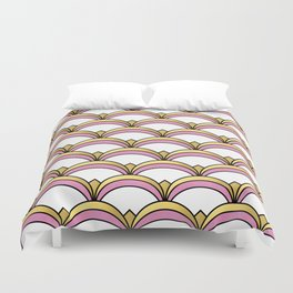 Pink and Gold Art Deco Pattern Duvet Cover