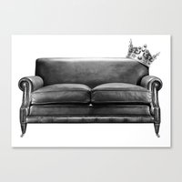 sofa Canvas Prints featuring Sofa King by sustici