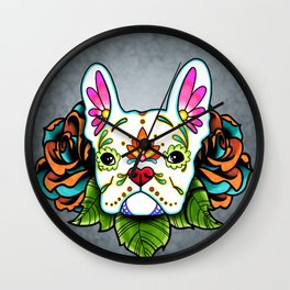 French Bulldog in White - Day of the Dead Sugar Skull Dog Wall Clock