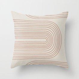 Burnt Orange Line Art Throw Pillow