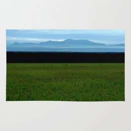 Parallel Horizontal Ink Sky Mountain and Field Rug