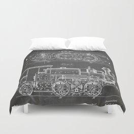 Steam Train Patent - Steam Locomotive Art - Black Chalkboard Duvet Cover