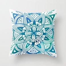 Mandala - Blue Green Watercolor Throw Pillow