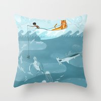 fishing Throw Pillows featuring Fishing by Erik Krenz