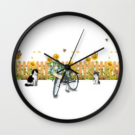 Cats Summer Garden Bike Butterflies Wall Clock