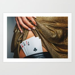 Sexy lady in golden color dress with poker cards combination over black stocking legs Art Print