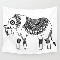 henna Wall Tapestries featuring Henna Elephant by Julie Erin Designs