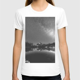 Summer Stars Black and White - Galaxy Mountain Reflection T-shirt