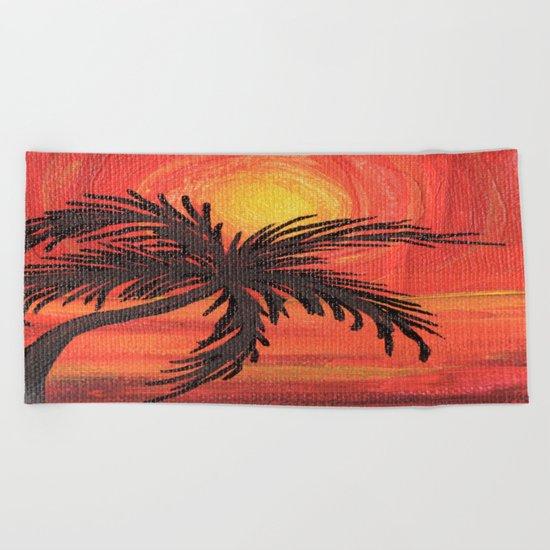 Red Palm Sunset Beach Towel