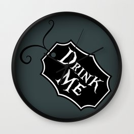 """DrinkMe"" Alice in Wonderland styled Bottle Tag Design in 'Bandersnatch Grey' Wall Clock"