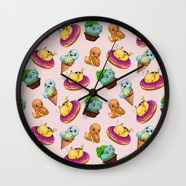 PokeSweets Pattern Pink Wall Clock