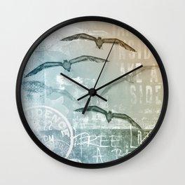 Seagull mixed media artwork Wall Clock