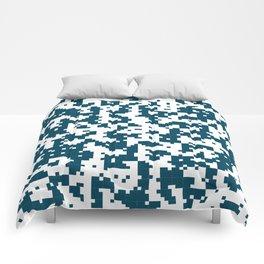 Small Pixel Big Pixel - Geometric Pattern in Dark Blue Comforters