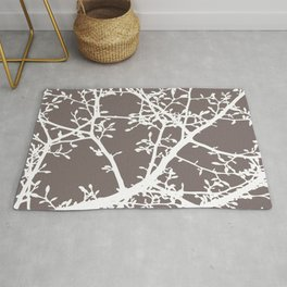 Magnolia Tree Taupe Brown Modern Branches Rug