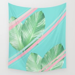 Tropical Summer Leaves Stripes - Cali Vibes #1 #tropical #decor #art #society6 Wall Tapestry
