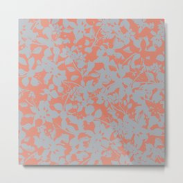 Floral Silhouette Pattern - Broken but Flourishing in Coral Metal Print