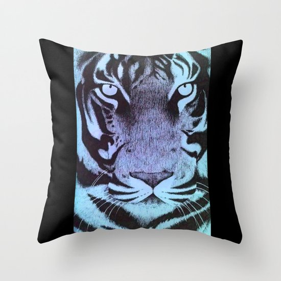 Be a Tiger (Blue) Throw Pillow