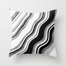 Black and Silver Marble Waves Throw Pillow