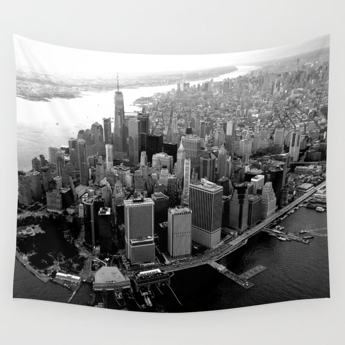 New York City Skyline Manhattan In Black White Wall Tapestry By Zado