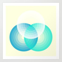 Three colour circles inverted, inspired by Lacouture's Répertoire chromatique Art Print