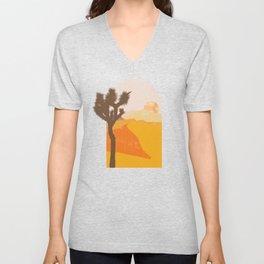 Minimalist Desert Joshua Tree Sand Dune Landscape Illustration Unisex V-Neck