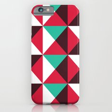 Red, turquoise, black triangle pattern Slim Case iPhone 6s