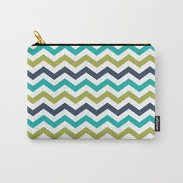 Chevron Navy Lime Turquoise Pattern Carry-All Pouch