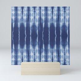 Blue shibori scratched Mini Art Print
