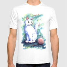 Playing Kitty White MEDIUM Mens Fitted Tee