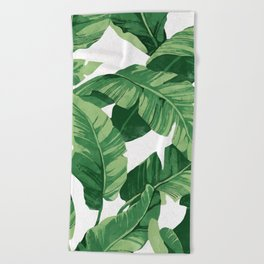 Tropical banana leaves IV Beach Towel