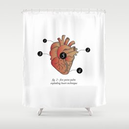 Five Point Palm Exploding Heart Technique Shower Curtain