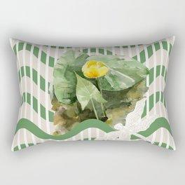 Water Lilies yellow watercolor Pattern Rectangular Pillow