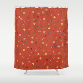 Botanical Red Shower Curtain