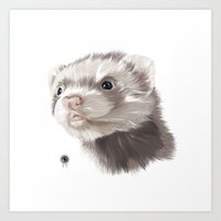 ferret Art Prints featuring Ferret by Adam Dunt