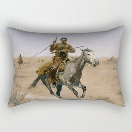 "Frederic Remington Western Art ""The Flight"" Rectangular Pillow"